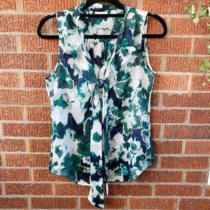 NY&C Green Sheer Sleeveless Blouse Neck Tie Small